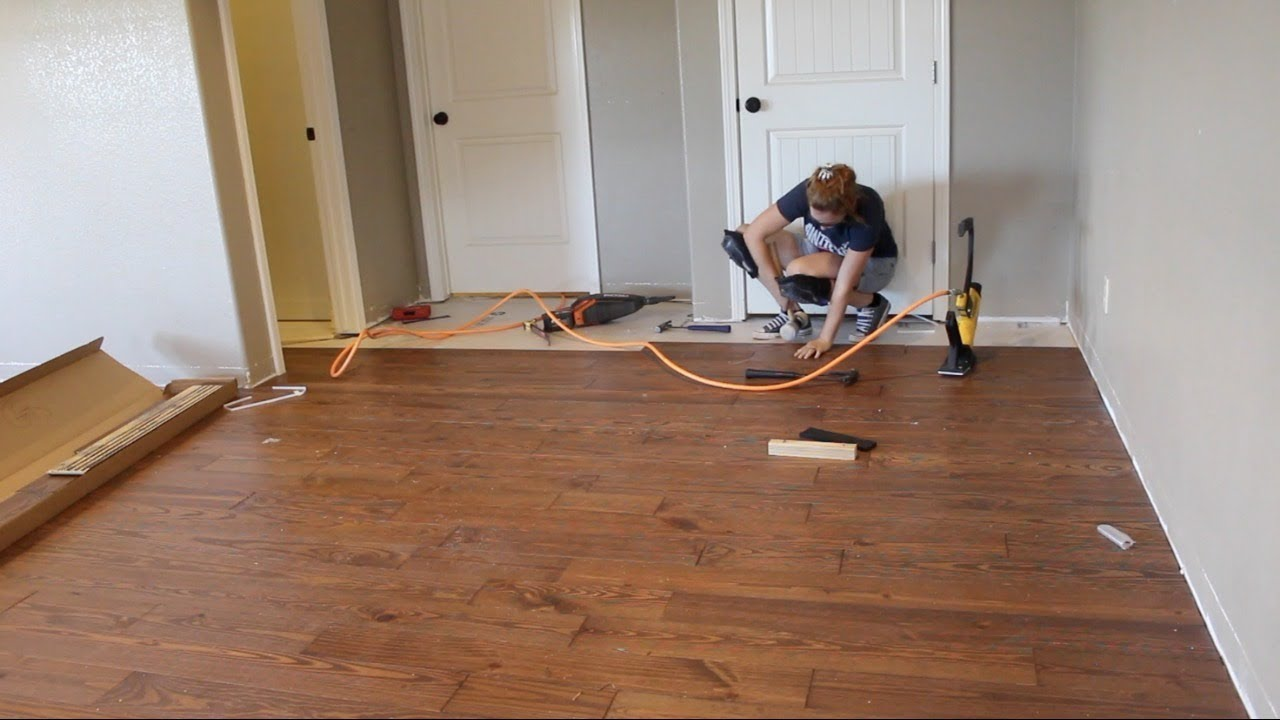First Time Laying Hardwood Flooring & First Time Laying Hardwood Flooring - YouTube
