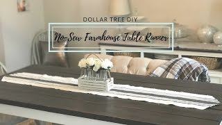 DOLLAR TREE DIY FARMHOUSE NO-SEW TABLE RUNNER|COLLAB WITH LIVING IT COUNTRY