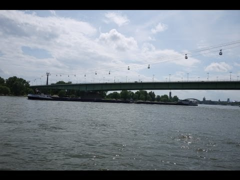 Rhine River and Cable Car, Cologne, Germany