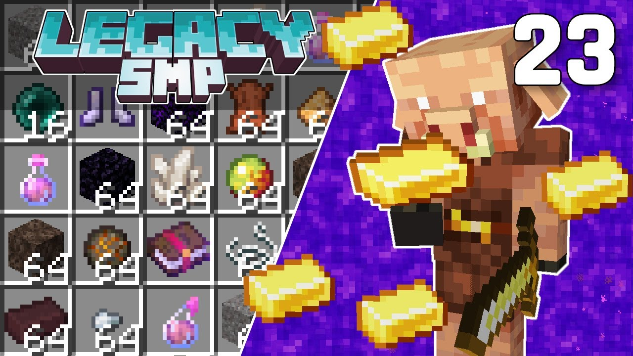 Interdimensional Piglin Bartering Farm - Legacy SMP #23 (Multiplayer Let's Play)   Minecraft 1.