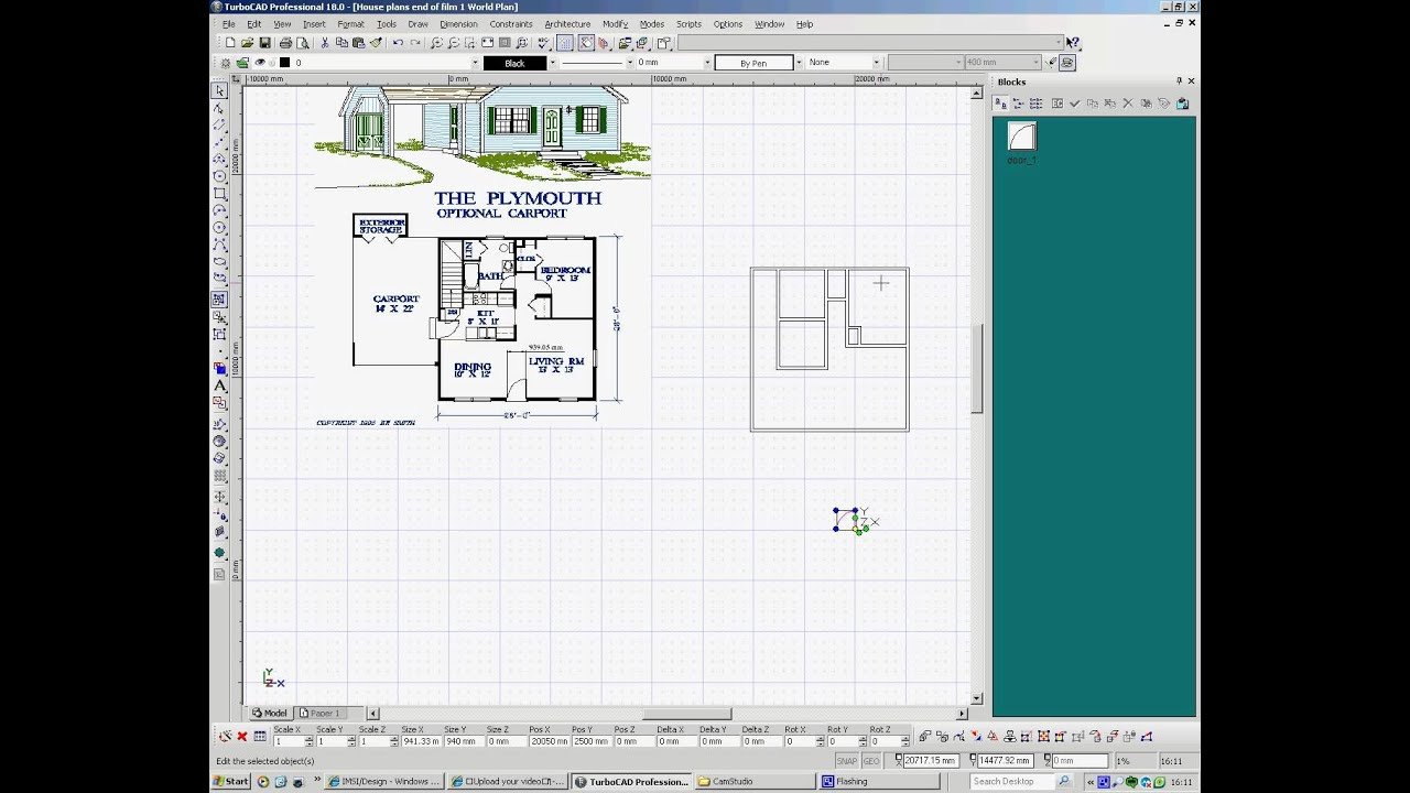 TurboCAD Drawing House Plans 2, Creating Doors and Windows - YouTube