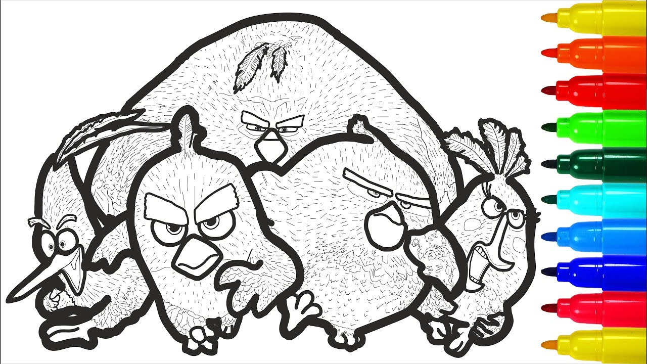 ANGRY BIRDS 2 Coloring Pages With Colored Markers For ...