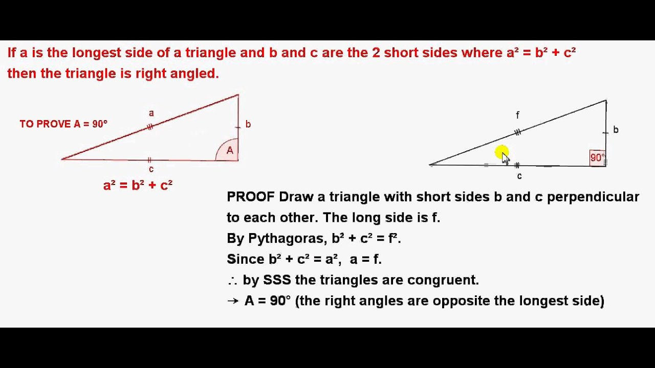 Proof of the Converse of Pythagoras' Theorem - YouTube