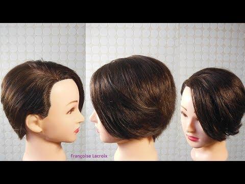 Coupe femme courte dégradée, mèche longue côté | Short haircut for women | Corte de pelo corto mujer