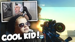 THIS KID IS DOPE! (TRICKSHOTTING WITH A COOL FAN) BO2 Trickshotting