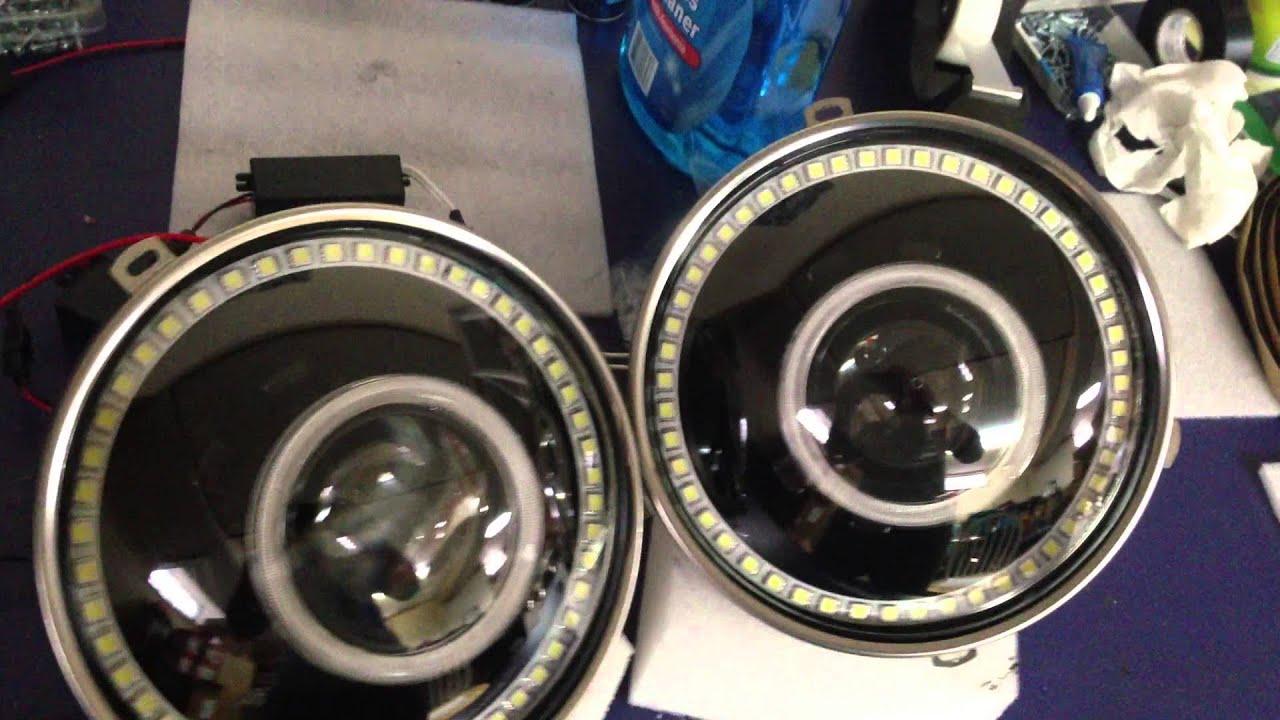 Jeep Wrangler Led Headlights >> Jeep Wrangler JK Bi-Xenon Headlights - Angel Eye Shrouds and LED Rings - YouTube