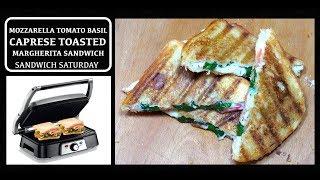 Mozzarella Tomato Basil Sandwich - Caprese Sandwich - Margherita Pizza Sandwich - Cheese Toastie