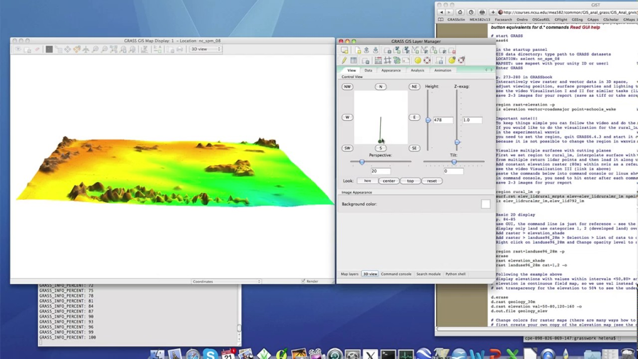 Analytical 3D visualization of multiple surfaces in GRASS GIS 6 4: Cutting  planes