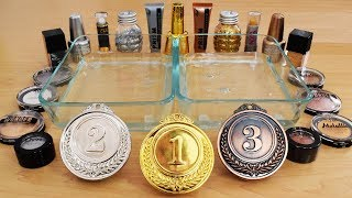 Gold vs Silver & Bronze Mixing Makeup Eyeshadow Into Slime Special Series 130 Satisfying Slime Video