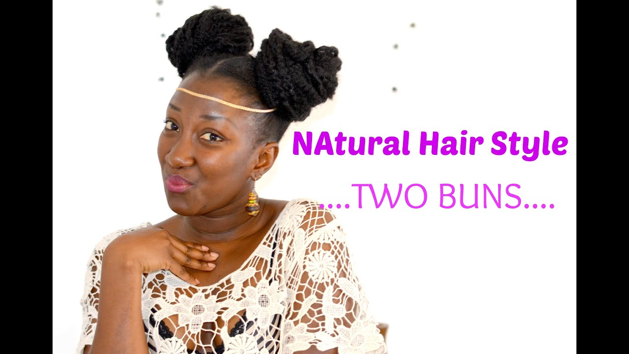 Natural hair style || Two buns || Afro kinky \\ ADEDE - YouTube