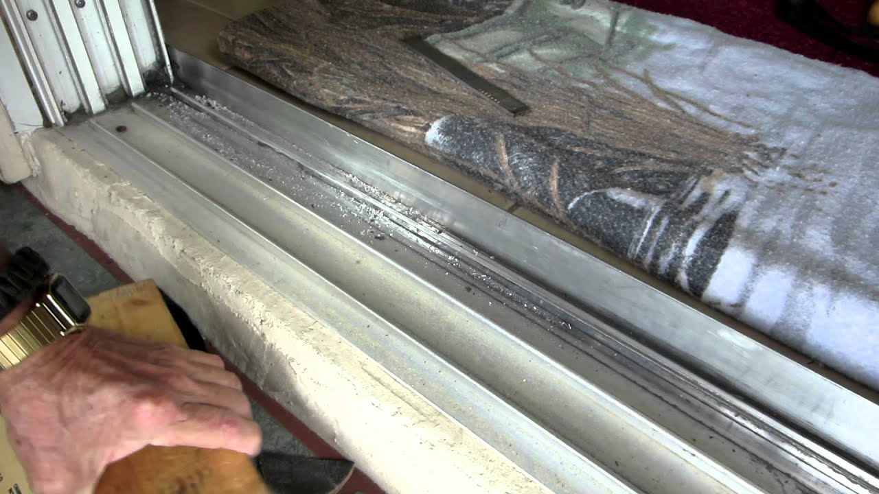 Home Repairs 8 Ft Sliding Door Track Repair Youtube