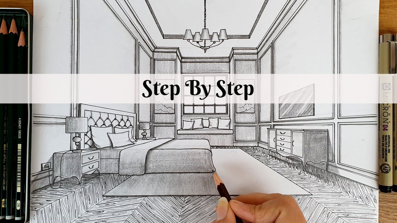 How To Draw a Bedroom in One Point Perspective   Step By ...