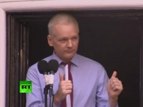 'War on whistleblowers must end!' - Assange speech at Ecuador Embassy