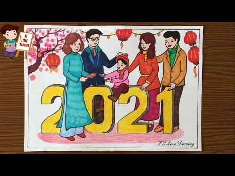 tranh vẽ ngày tết - Vẽ tranh tết 2021 | Vẽ tranh ngày tết và mùa xuân | KT-love-drawing
