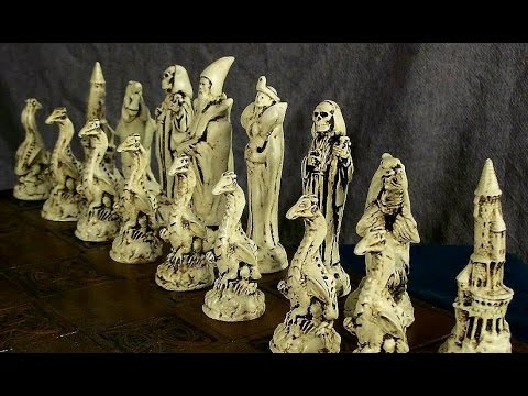 Fantasy Wizards Dragons & Death Chess Set - Large Handmade Chess Set