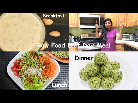 Raw Food Diet Day Meal~ Almond Fig Shake, Sprouted Beans,  Broccoli Cashew Balls
