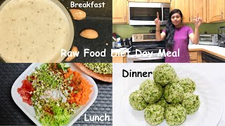 Raw Food Diet Day Meal Almond Fig Shake, Sprouted Beans,  Broccoli Cashew Balls