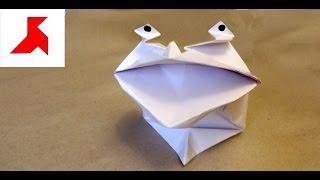 Как сделать говорящую оригами лягушку из бумаги А4 своими руками?(«Квакающая лягушка» из бумаги – оригами инструкция, о том как же для детишек сделать своими руками широко..., 2016-09-01T18:12:58.000Z)