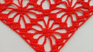 "Узор для шали"" Паучки"" крючком.( pattern to crochet shawl) (узор#6)"