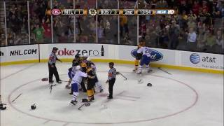 Bruins-Habs line brawl and more 4/9/09 [HD]