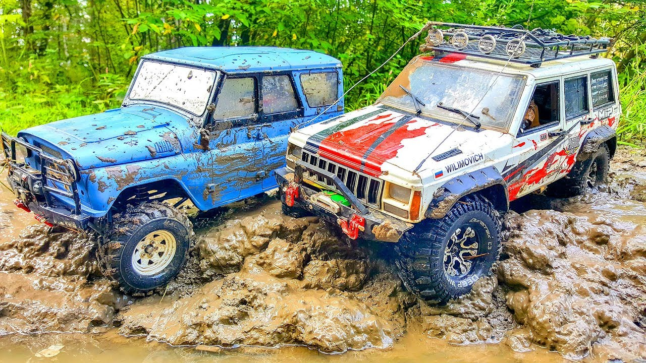 RC Cars MUD Extreme 2 — UAZ Hunter 4x4 VS Jeep Cherokee Axial SCX10 II | Wilimovich