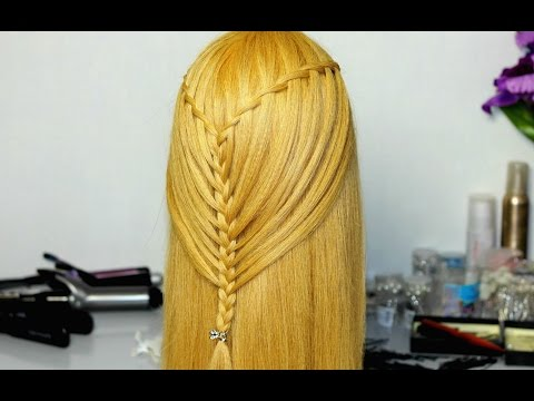 Mermaid hairstyle for long hair (waterfall braid)