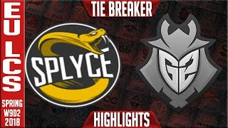 SPY vs G2 TIE BREAKER Highlights | EU LCS Week 9 Spring 2018 W9D2 | Splyce vs G2 Esports Highlights