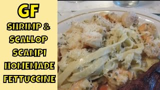 Shrimp And Scallop Scampi Served Over Homemade Gluten Free Fettuccine