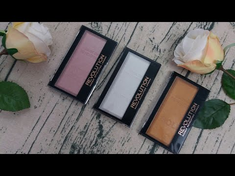 Makeup Revolution new Ingot Highlighter swatches, Platinum, Rose Gold & Gold £4 each!