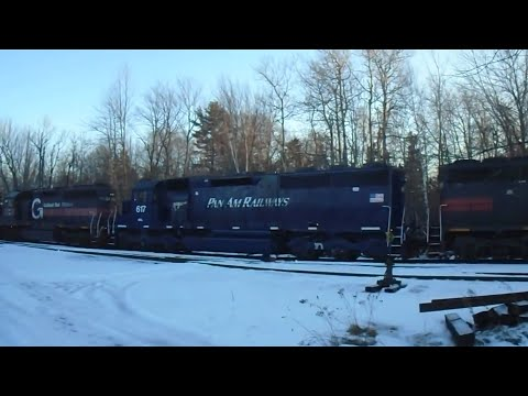 Pan Am SD40 in Hermon, ME!!!! + CMQR crosses over Pan Am w/ 3 Units - 12/4/14
