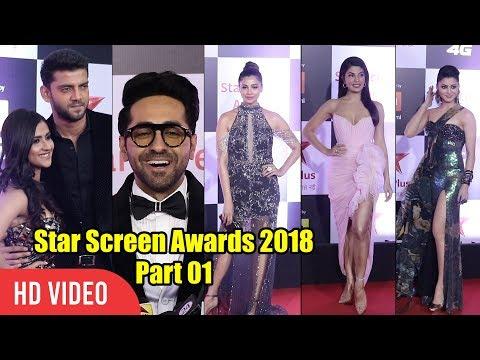 Jacqueline Fernandez, Urvashi Rautela, Daisy, Ayushmann, Vicky at Star Screen Awards 2018