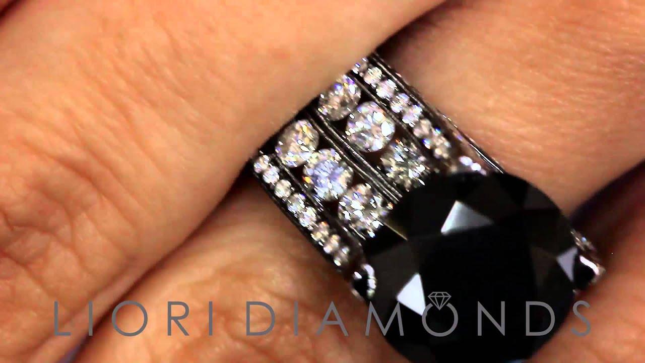 BDR 234 12 63 Carat Certified Natural Black Diamond Engagement