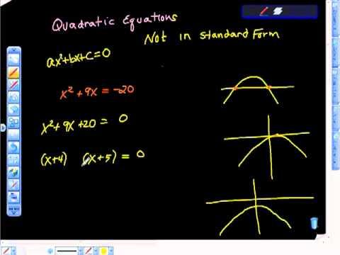 Quadratic Equations Factoring Not in Standard Form. - YouTube Quadratic Function In Standard Form