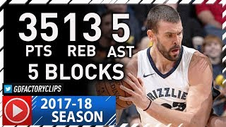 Marc Gasol Full Highlights vs Pacers (2017.11.15) - 35 Pts, 13 Reb, 5 Blks!