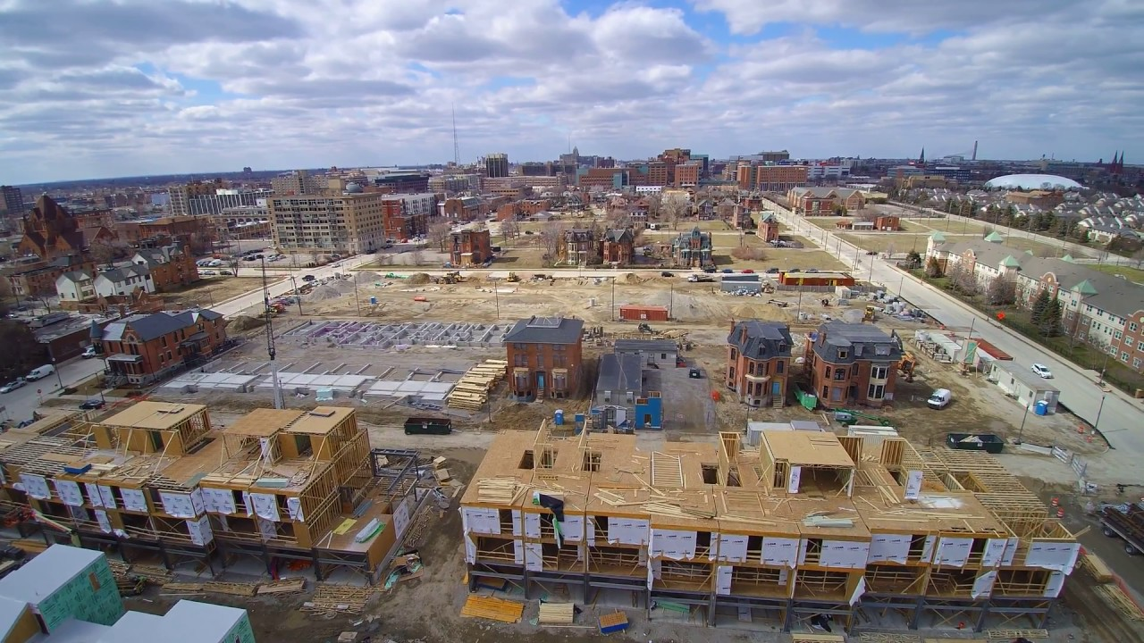 Detroit Brush Park Modern City Construction Update In 4k