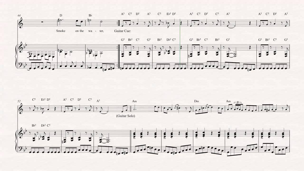 Trumpet Smoke On The Water Deep Purple Sheet Music Chords