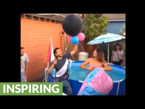 Expecting dad jumps into pool during gender reveal party