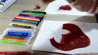 Dibujos para pintar y colorear*Coloreando un fresa*usando purpurina