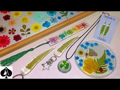 Epoxy Resin Projects using Dried Flowers & Leaves | Jewellery, Pendants, Earrings, Bookmark + More