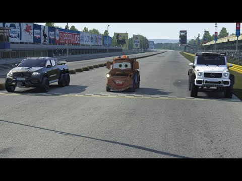 Tow Mater vs Mercedes-Benz X-Class 6X6 vs Mercedes-Benz G-Class 6x6 AMG at Monza Full Course