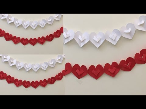 Paper Heart Garland DIY/ Simple Party Decoration Ideas/ Paper Heart Chain