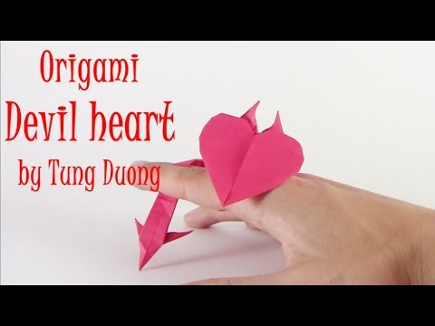 origami devil heart easy yakomoga origami easy tutorial youtube