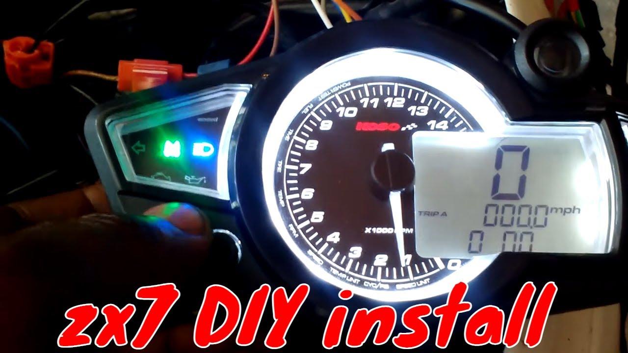 Mirage Tachometer Wiring Diagram Rpm Tach Zx 7rr Ninja Diy Koso Rx1n Install Part 5 Working Youtube Sun Super