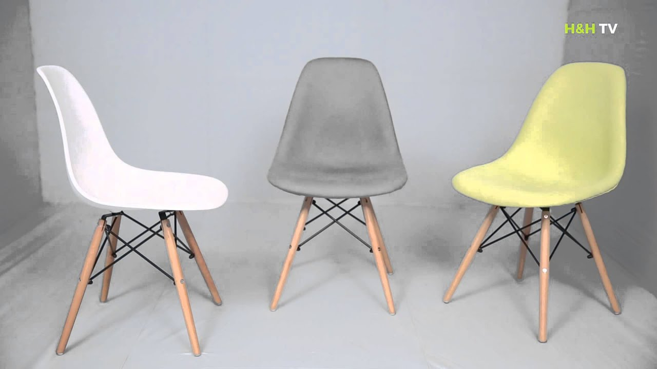 Home hearth replica eames dsw side chair youtube for Side chair replica