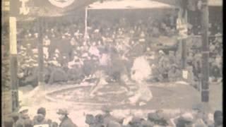 東京西ノ海一行・大阪宮城山一行の合併相撲の映像(大正15年11月28日)
