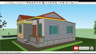 """24' X 30"""" Low Cost Small House Design For 3 Bed Room With Living And Bathroom"""