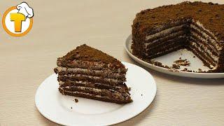 Медовик шоколадный. Торт для праздничного стола. Пошаговый рецепт.