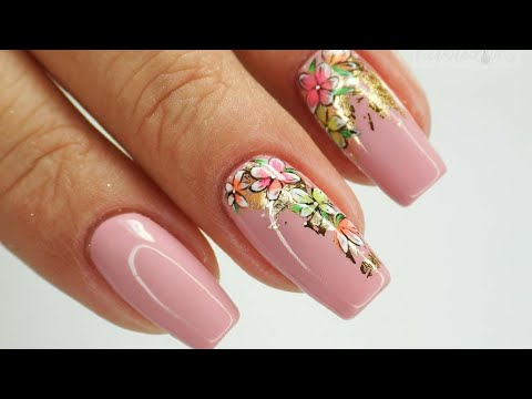 Neon flowers and gold foil/ Colours by Molly