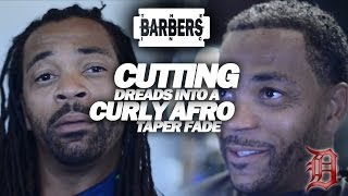 HOW TO: Cut Off Richard Sherman Dreads Into Curly Afro Taper Fade | Men