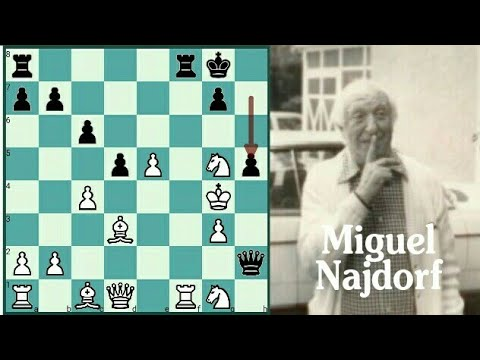 Najdorf sacrifices all four Minor pieces and wins , Gluckberg vs Najdorf
